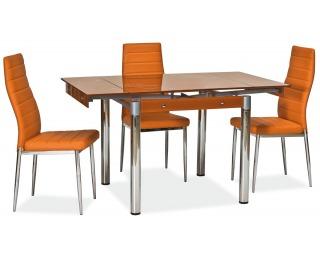 Jedálenský set GD-082 1+4 - chróm / tvrdené sklo / oranžová