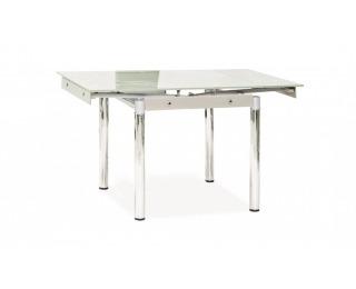 Jedálenský stôl GD-082 - chróm / tvrdené sklo / biela