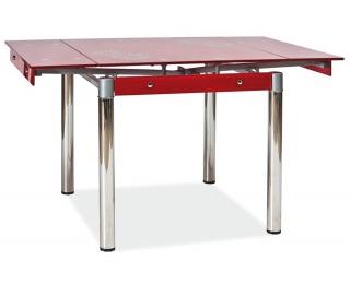 Jedálenský stôl GD-082 - chróm / tvrdené sklo / červená