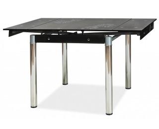 Jedálenský stôl GD-082 - chróm / tvrdené sklo / čierna