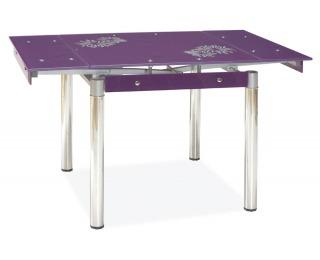 Jedálenský stôl GD-082 - chróm / tvrdené sklo / fialová