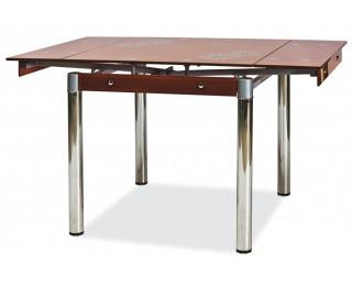 Jedálenský stôl GD-082 - chróm / tvrdené sklo / hnedá