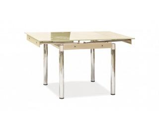 Jedálenský stôl GD-082 - chróm / tvrdené sklo / krém