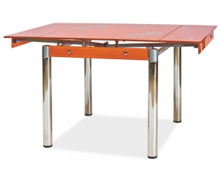 Jedálenský stôl GD-082 - chróm / tvrdené sklo / oranžová