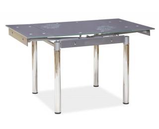 Jedálenský stôl GD-082 - chróm / tvrdené sklo / sivá