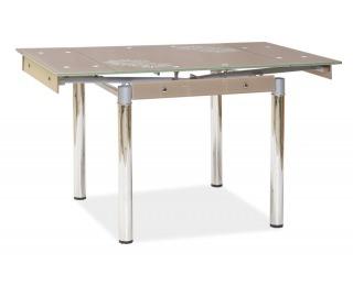 Jedálenský stôl GD-082 - chróm / tvrdené sklo / tmavobéžová