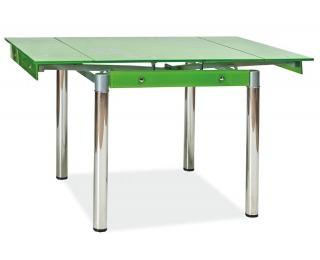 Jedálenský stôl GD-082 - chróm / tvrdené sklo / zelená