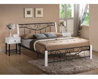 Rustikálna manželská posteľ s roštom Parma 160 - biela / čierna