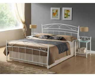 Kovová manželská posteľ s roštom Siena 160 - biela