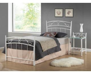Kovová jednolôžková posteľ s roštom Siena 90 - biela