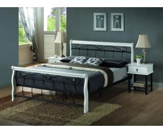Rustikálna manželská posteľ s roštom Venecja 160 - biela / čierna