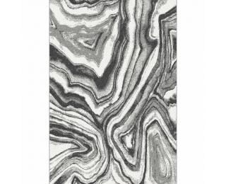 Koberec Sinan 57x90 cm - biela / čierna / vzor