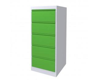 Kovová kartotéková skriňa SK-A5/5/2 - svetlosivá / zelená