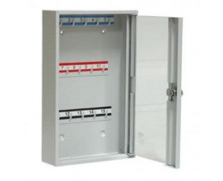 Kovová skrinka na kľúče s presklenými dverami SK15/S - svetlosivá