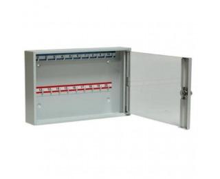 Kovová skrinka na kľúče s presklenými dverami SK20/S - svetlosivá