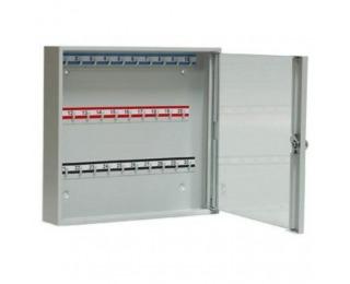 Kovová skrinka na kľúče s presklenými dverami SK30/S - svetlosivá