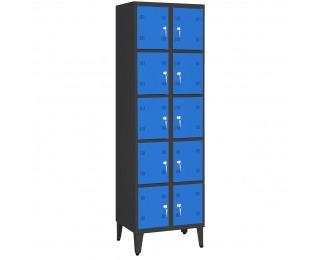 Boxová šatňová skriňa na nožičkách SK300-010 NOZKI - grafit / modrá