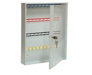 Kovová skrinka na kľúče s presklenými dverami SK40/S - svetlosivá