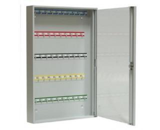 Kovová skrinka na kľúče s presklenými dverami SK50/S - svetlosivá
