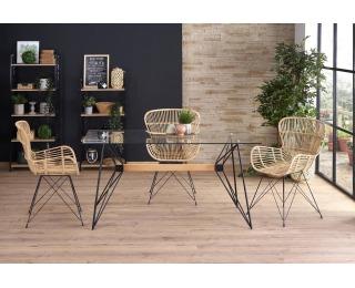 Sklenený jedálenský stôl Allegro - priehľadná / čierna / prírodná