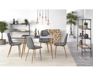 Sklenený jedálenský stôl Next - dymová / dub medový