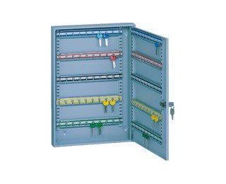 Kovová skrinka na kľúče s pohyblivými háčikmi SKR 100 - svetlosivá