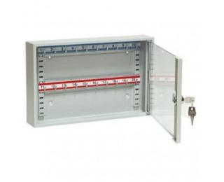 Presklená skrinka na kľúče s pohyblivými háčikmi SKR 20/S - svetlosivá