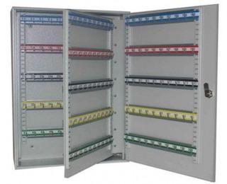 Kovová skrinka na kľúče s pohyblivými háčikmi SKR 200 - svetlosivá