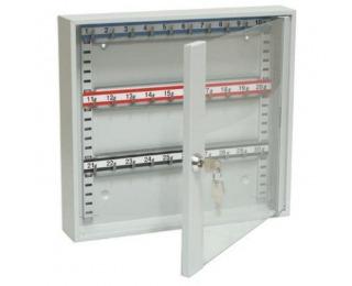 Presklená skrinka na kľúče s pohyblivými háčikmi SKR 30/S - svetlosivá