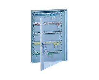 Presklená skrinka na kľúče s pohyblivými háčikmi SKR50/S - svetlosivá