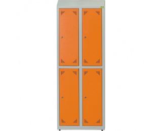 Školská šatňová skrinka s vetracími otvormi SKS 300 04 - svetlosivá / oranžová