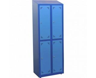 Školská šatňová skrinka s vetracími otvormi SKS 300 04 - tmavomodrá / modrá