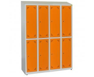 Školská šatňová skrinka s vetracími otvormi SKS 300 08 - svetlosivá / oranžová