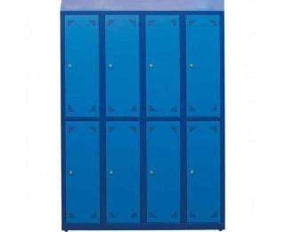 Školská šatňová skrinka s vetracími otvormi SKS 300 08 - tmavomodrá / modrá