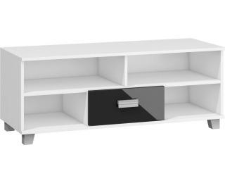 TV stolík Solo SOL-06 - biela / čierny lesk