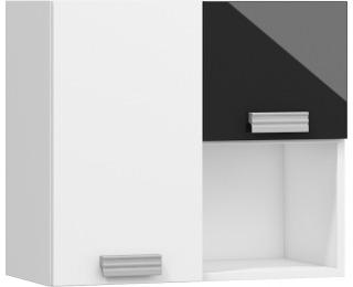 Univerzálna skrinka na stenu Solo SOL-08 L/P - biela / čierny lesk