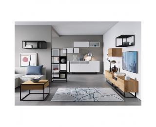 Obývacia izba Spring - dub artisan / biela / grafit / čierna