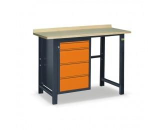 Pracovný stôl SS01L/F - grafit / oranžová