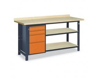 Pracovný stôl s dvoma policami SS02L/E/2PL90 - grafit / oranžová