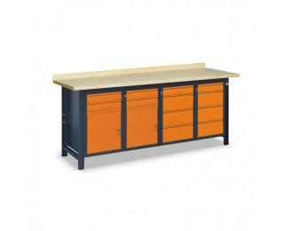Pracovný stôl SS03L/CCFF - grafit / oranžová