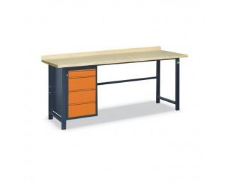 Pracovný stôl so zverákom SS03L/F - grafit / oranžová