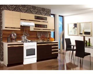 Kuchyňa Lungo 180+60 - wenge / mliečny dub
