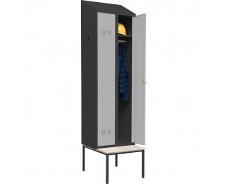 Šatňová skriňa s jednostrannou lavicou SUPE 300-02 DASZEK - grafit / svetlosivá