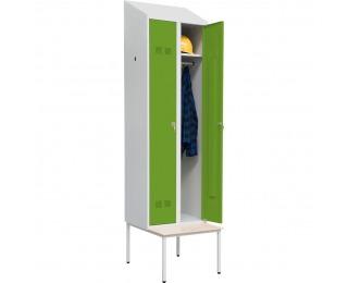 Šatňová skriňa s jednostrannou lavicou SUPE 300-02 DASZEK - svetlosivá / zelená