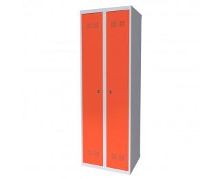 Kovová šatňová skriňa SUPE 300-02 - svetlosivá / oranžová