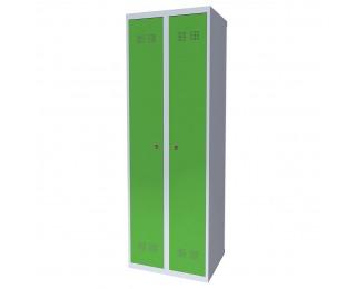 Kovová šatňová skriňa SUPE 300-02 - svetlosivá / zelená