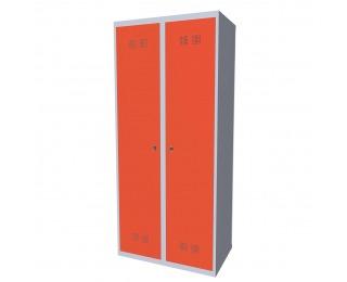Kovová šatňová skriňa SUPE 400-02 7035/2003 - svetlosivá / oranžová