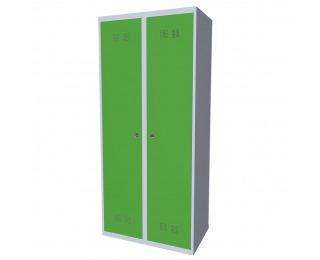 Kovová šatňová skriňa SUPE 400-02 7035/6018 - svetlosivá / zelená