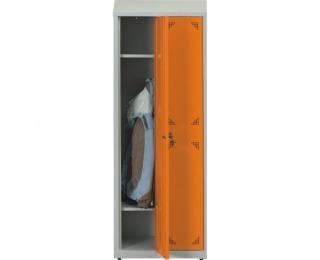 Školská šatňová skrinka s dvoma komorami SUS 300 02 - svetlosivá / oranžová