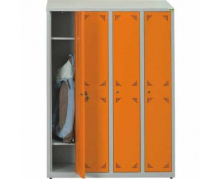 Školská šatňová skrinka s vetracími otvormi SUS 300 04 - svetlosivá / oranžová